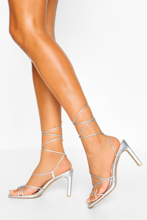 boohoo Wide Fit Strappy Square Toe Flat Heels