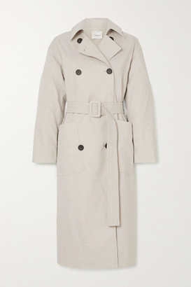 Vince Belted Linen-blend Trench Coat - Cream