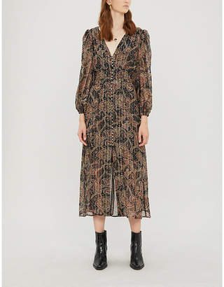 The Kooples Button-front paisley crepe dress