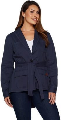 Peace Love World Belted Military Jacket w/ Back Peplum Detail