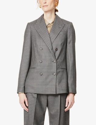 Brunello Cucinelli Checked double-breasted wool blazer