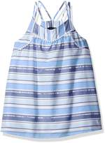 Nautica Big Girls' Stripe Tank Top Shirt with Pom-Pom Trims Accents