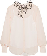 See by Chloe Organza-appliquéd Crinkled Georgette Blouse - White
