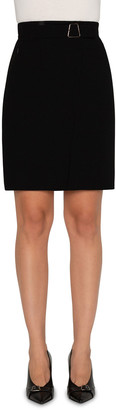 Akris Wool Double-Face Faux Wrap Skirt