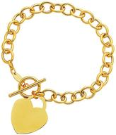 Ice Toggle Bracelet with Heart Charm in 14K Yellow Gold