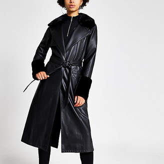 River Island Black faux leather longline trench coat