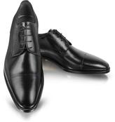Moreschi Black Leather Cap-Toe Derby Shoes