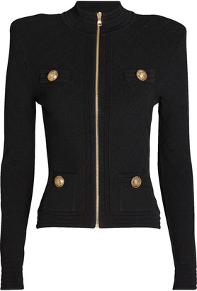 Balmain Rib Knit Zip-Up Jacket