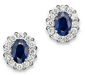 Bloomingdale's Blue Sapphire and Diamond Oval Stud Earrings in 14K White Gold - 100% Exclusive