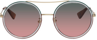 Gucci Gold Round Gradient Sunglasses