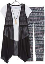Knitworks Knit Works SS Crochet Vest Legging Set With Necklace - Girls' 7-16