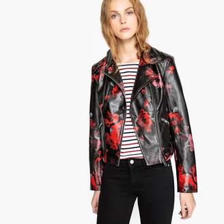 La Redoute Collections Floral Print Faux Leather Biker Jacket