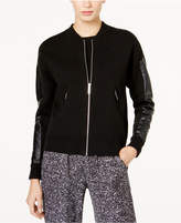 MICHAEL Michael Kors Faux-Leather-Sleeve Bomber Jacket