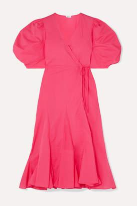 Rhode Resort Fiona Cotton-poplin Wrap Dress - Fuchsia