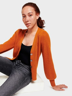 White + Warren Cashmere Exaggerated Puff Sleeve Cardigan