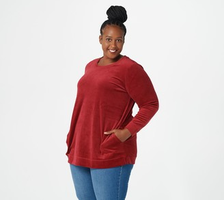 Denim & Co. Regular_Velour Long-Sleeve Tunic with Pockets