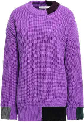 Victoria Victoria Beckham Victoria, Victoria Beckham Color-block Ribbed Wool Sweater