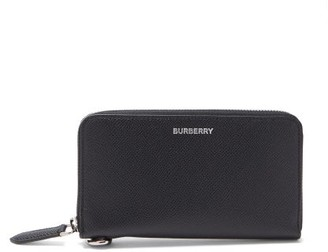 Burberry Logo-embossed Grained-leather Wallet - Black