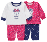 George Disney Minnie Mouse 2 Pack Pyjamas