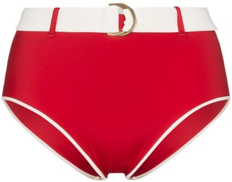 ODYSSEE Belted High-Waisted Bikini Bottoms