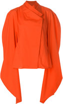 Awake cape-sleeve asymmetric blouse