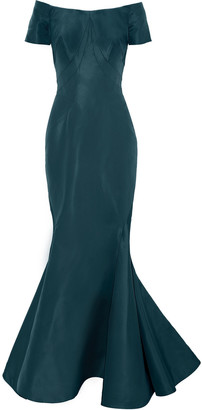 Zac Posen Off-the-shoulder Fluted Silk-faille Gown