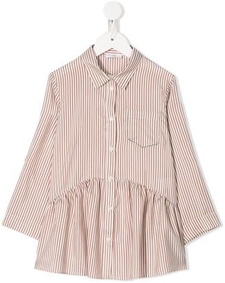 BRUNELLO CUCINELLI KIDS Striped Pleated Shirt