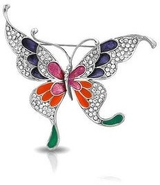 Bling Jewelry Large Butterfly Color Rainbow Enamel Crystal Brooch Pin Gold Plated