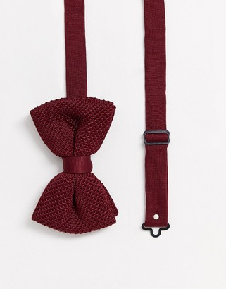 ASOS DESIGN knitted bow tie in burgundy