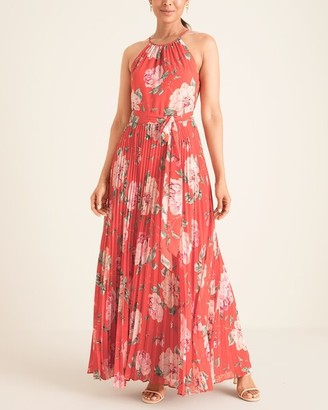 Brinker & Eliza Sleeveless Halter-Neck Pleated Maxi Dress