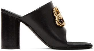 Balenciaga Black Oval BB Heeled Sandals