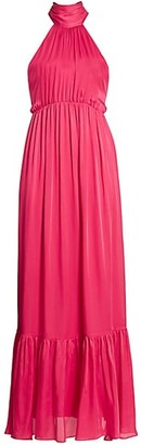 Zimmermann Gathered Bow Tie Halter Maxi Dress