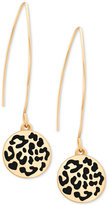 GUESS Two-Tone Animal-Look Disc Wire Threader Drop Earrings