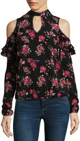 Self Esteem Long Sleeve Mock Neck Woven Floral Blouse-Juniors
