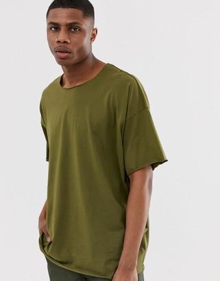 Asos DESIGN oversized t-shirt with raw neck in khaki