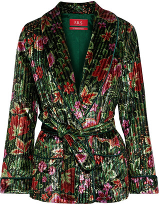 F.R.S For Restless Sleepers Armonia Belted Floral-print Metallic Chenille Blazer
