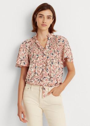 Ralph Lauren Floral Georgette Tie-Neck Top