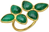Dee Berkley Gemstone Flower Ring Dyed Emerald