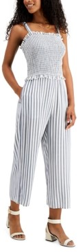 Speechless Juniors' Smocked Striped Jumpsuit