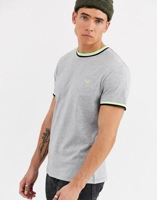 Threadbare organic cotton ringer t-shirt in grey with neon