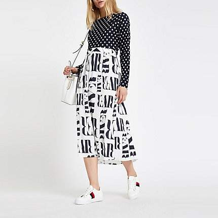 River Island White satin RI print pleated midi skirt