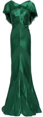 Zac Posen Draped Frayed Satin-crepe Gown