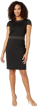 MICHAEL Michael Kors Heat Grommet Cap Sleeve Dress (Black) Women's Dress