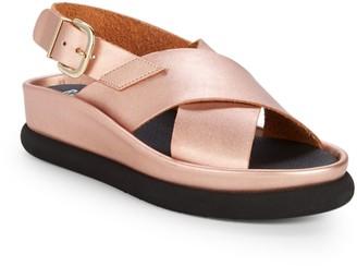 RENVY Metallic Leather Slingback Platform Sandals