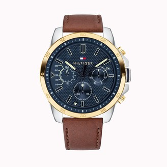 Tommy Hilfiger Casual Watch with Brown Leather Strap