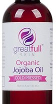 GreatFull Skin Golden Jojoba Oil by is a Premium 100% Pure Certified Organic Cold Pressed Unrefined Extract - More Effective Than Argon Without the Odor, 4.5 oz