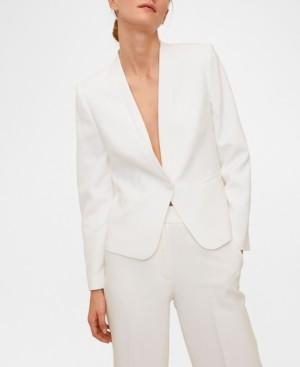 MANGO Women's Satin Collar Crepe Blazer