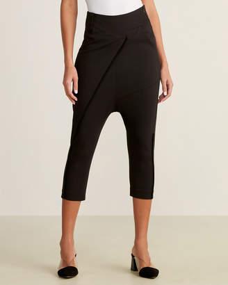 Black Cropped Drop Crotch Pants