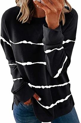 Yidarton Women's Casual Long Sleeve Tops Round Neck Tie Dye Stripe T-Shirts Blouse Side Split Sweatshirt Jumper (476-Black Small)