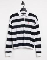 Thumbnail for your product : New Look rugby collar t-shirt with heart embroidery in black stripe